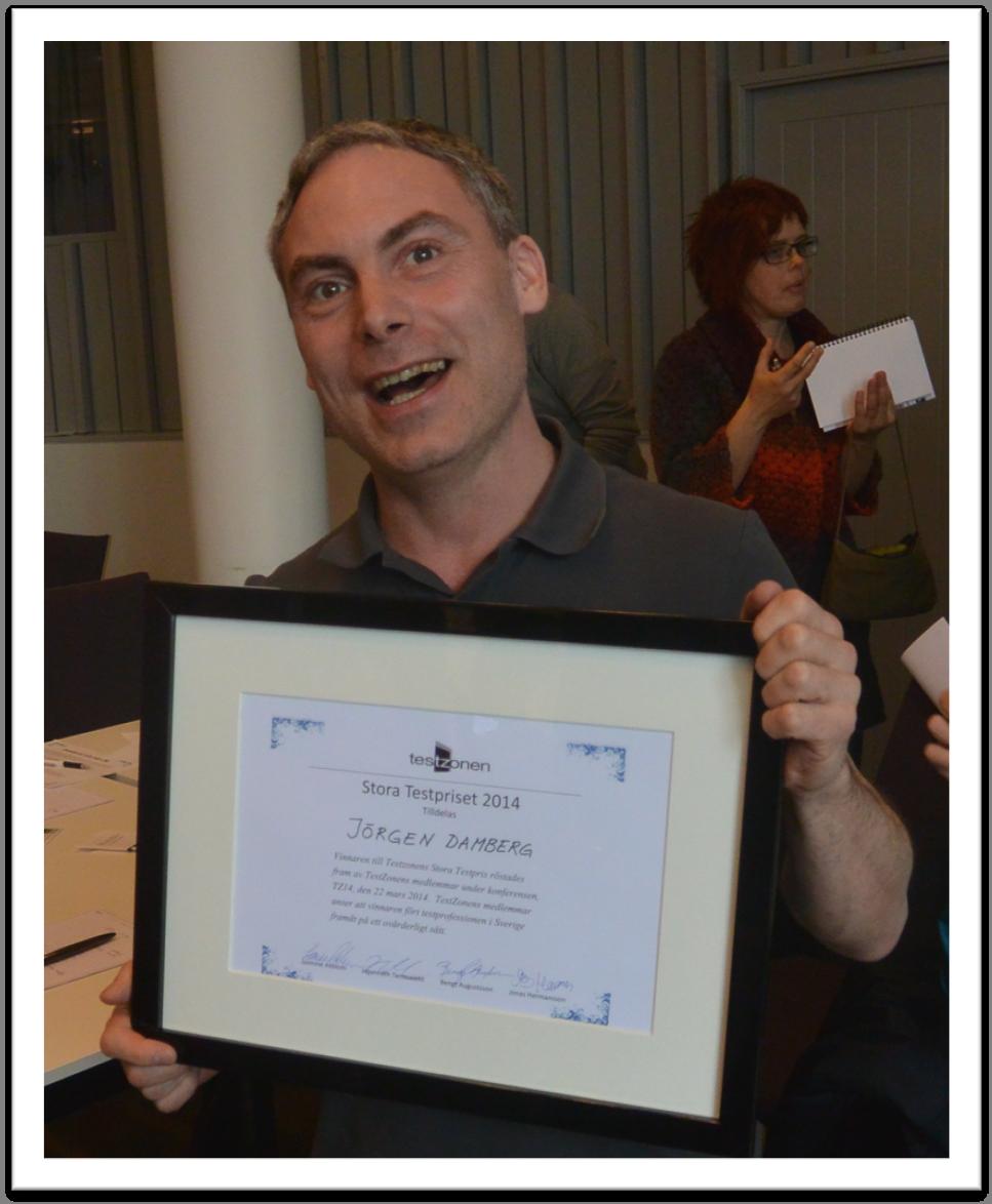 Jörgen Damberg är årets vinnare av TestZonens Stora Testpris 2014!
